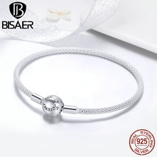 BISAER Hot Sale 925 Sterling Silver Snake Chain Forever Love Round Clasp Women Bracelets Sterling Silver Jewelry Pulseira ECB105