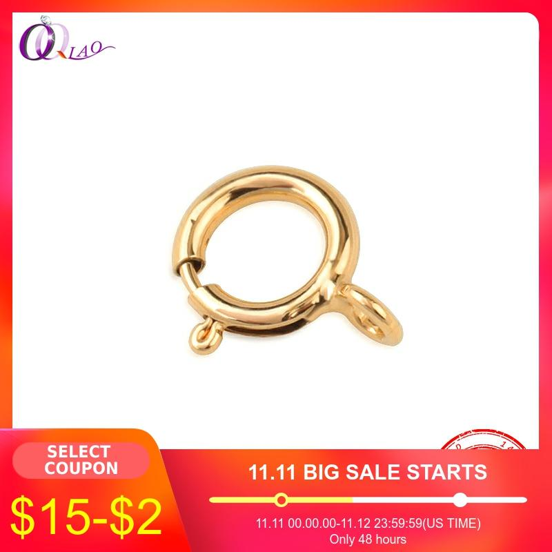 Best Quality A Pair 5mm 6mm 14K Gold Filled Spring Ring Clasps Hooks 14K GOLD Connection For Necklace Bracelet DIY Buckle