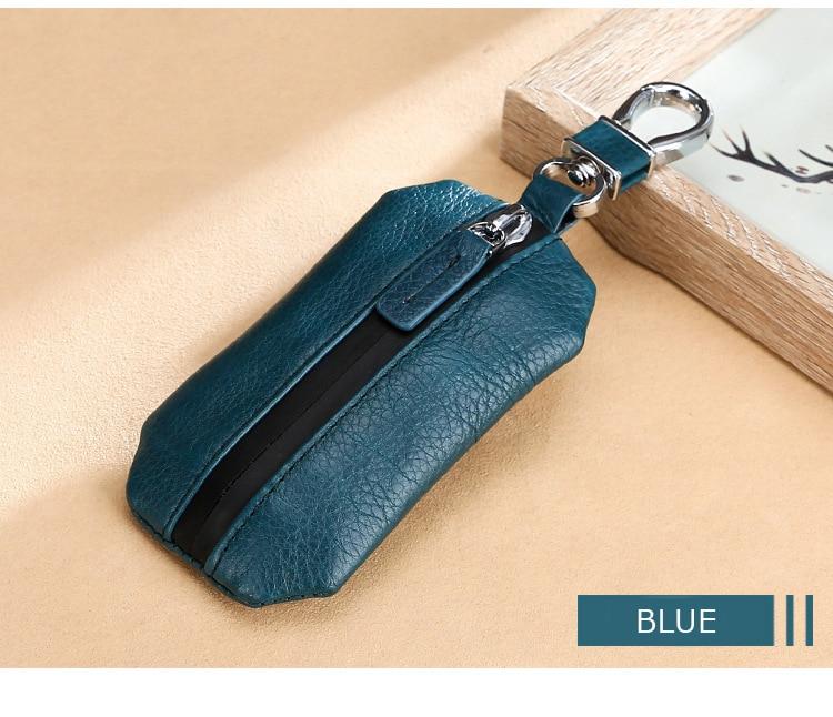 Waterproof Car Key Holder Genuine Cow Leather Key Cover for Men Keys Wallets Women Housekeeper Designer Keys Case with Keyschain