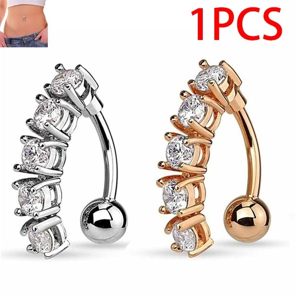 Women Cute Crystal Belly Button Dangle Flower Navel Piercing Rose Gold Sexy Bar Umbilical Ring 1