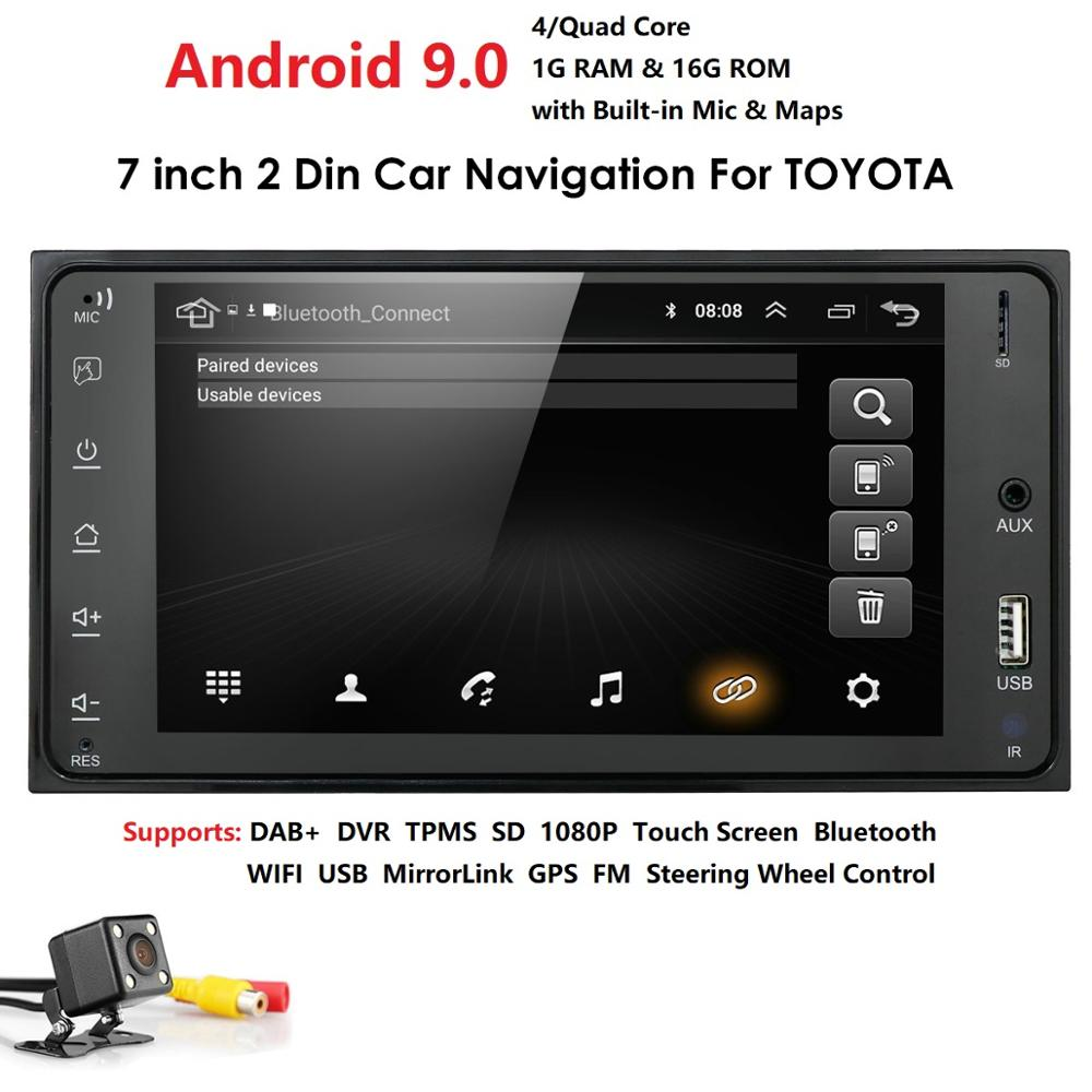 Android 9.0 2 Din Car Radio Multimedia Video Player Universal Auto Stereo GPS MAP For Toyata VIOS CROWN CAMRY HIACE PREVIA COROL
