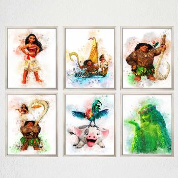 Disney Moana akwarela płótno malarstwo Maui Pua Hei Hei TeFiti plakat na ścianę obraz sztuki do życia dzieci pokój Home Decor Cuadros tanie i dobre opinie CN (pochodzenie) Wydruki na płótnie Pojedyncze PŁÓTNO akwarelowy abstrakcyjne bez ramki WM001 Malowanie natryskowe Pionowy prostokąt