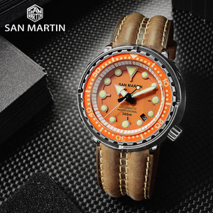 Image 2 - San Martin Dive Retro Schwarz Rüstung THUNFISCH männer Automatische Mechanische Uhr 30 Bar Wasserdichte Edelstahl Sapphire Datum Fenster