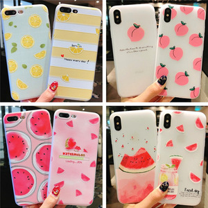 Image 1 - Summer small fresh fruit phone case for iPhone X XS8 7 6 6S PluS  5 5s 5SE silicone 3D embossed soft shell drop protection cover
