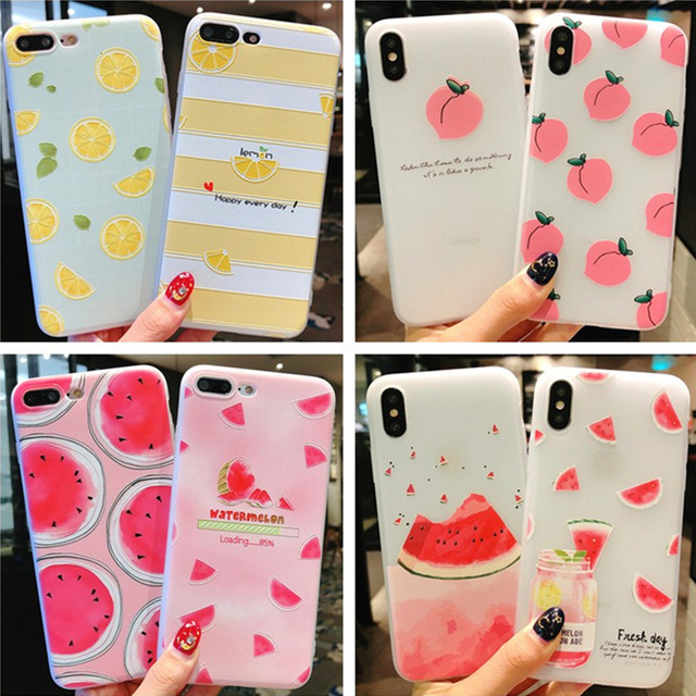 Summer small fresh fruit phone case for iPhone X XS8 7 6 6S PluS  5 5s 5SE silicone 3D embossed soft shell drop protection cover