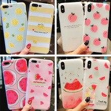 Été petit fruits frais téléphone étui pour iphone X XS8 7 6 6S PluS 5 5s 5SE silicone 3D en relief coque souple couverture de protection contre les chutes