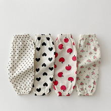 MILANCEL 2021 Baby Pants Linen Boys Trousers Floral Girl Pants Toddler Outerwear