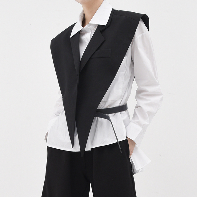 [EAM] Women Loose Fit Black Brief Irregular Split Joint Big Size Vest New Lapel Sleeveless  Fashion  Spring Summer 2021 1U52701 2