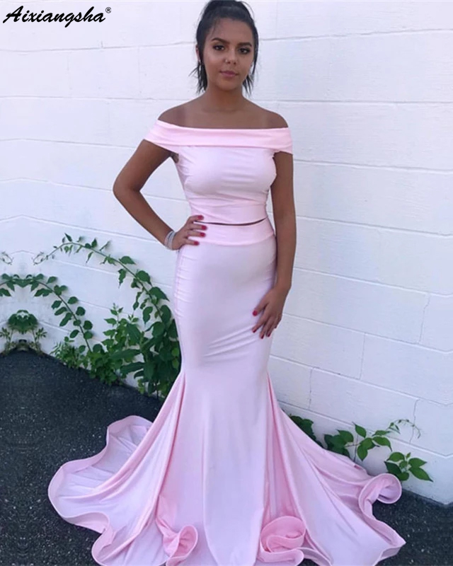 Strapless Pink 2019 Prom Dresses Mermaid Long Prom Gown Simple Satin Two Pieces Prom Dress