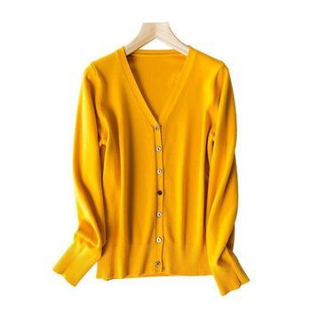 2020 Autumn Cardigan Women Korean V Neck Knitted Cardigan Feminino Ladies Long Sleeve Loose Buttons Cardigan Thin Coat buttoned v neck cardigan