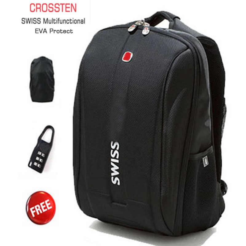 """Crossten İsviçre çok fonksiyonlu 15.6 """"Laptop sırt çantası ipad kılıfı EVA kabuk koruyucu su geçirmez okul çantası Mochila"""