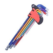 Набор шестигранных ключей с отверткой 9 шт цветным кодированием