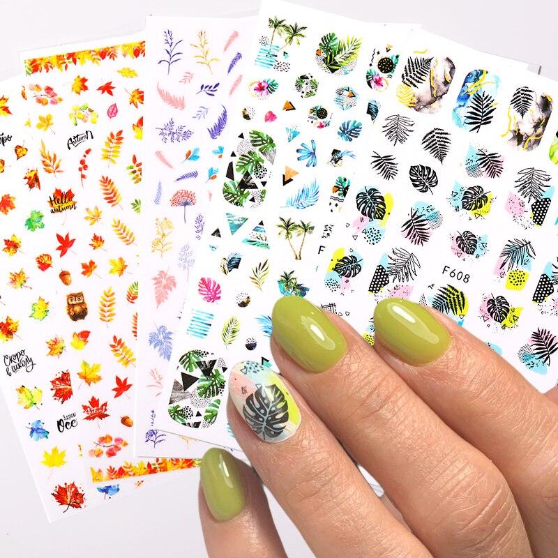 1 лист весна наклейки на ногти цветок листья слайдер, которые переводятся на ногти, с помощью наклейки для маникюра ногтей маникюр сделай са...