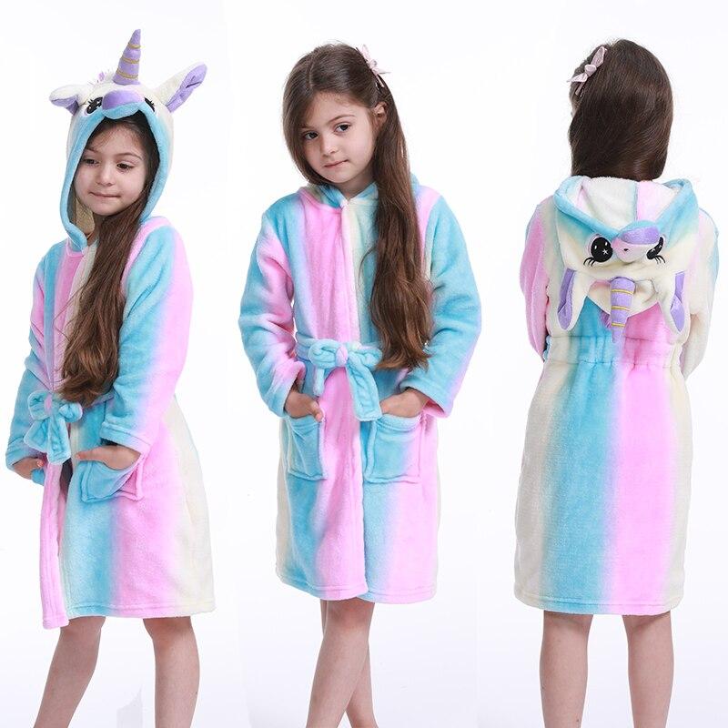Kigurumi Children Bath Robe Baby Towel Animal Rainbow Unicorn Hooded Bathrobe For Boys Girls Pajamas Kids Sleepwear Cartoon Robe