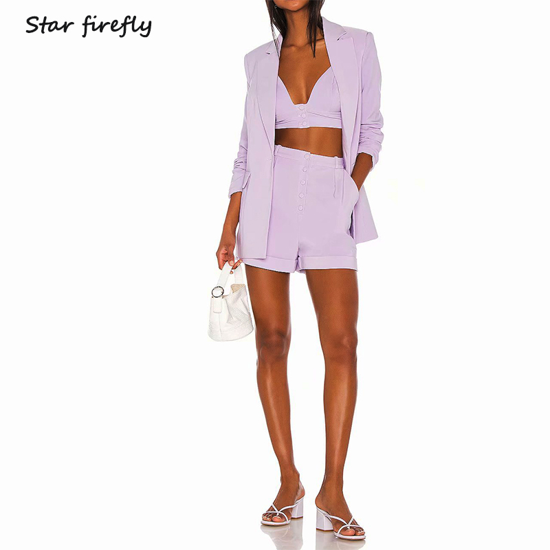 Star Firefly Large Size Professional Suit Women2019 Autumn Casual Solid Long Blazer+ High Waist Suit Shorts+suit Strap Tube Top
