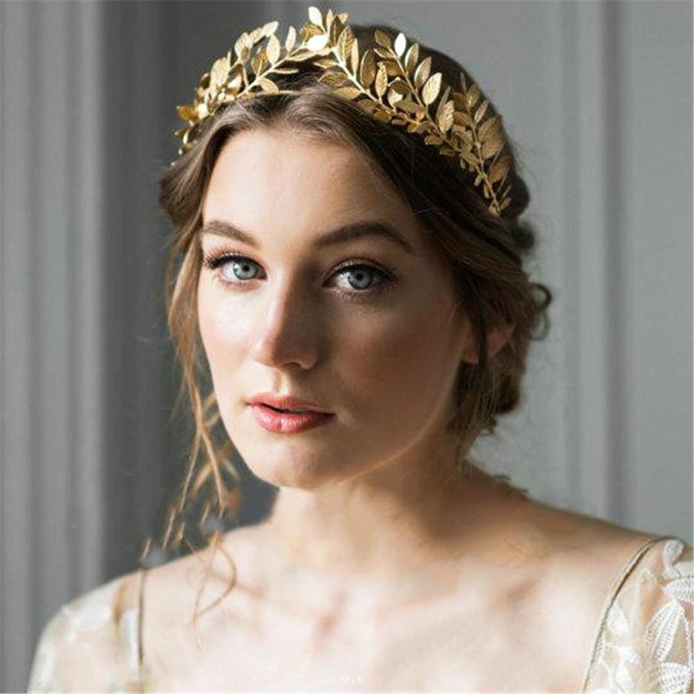 Retro Gold leaf wedding roman bride greek women hair accessories bride head jewel headband head tiaras crown jewelry Hair Hoop