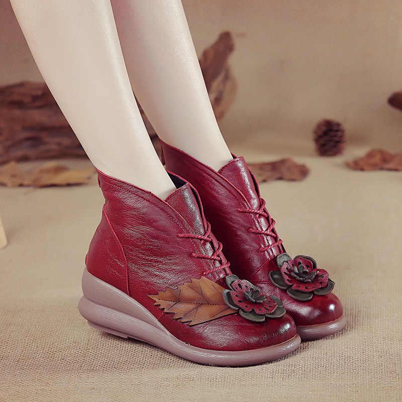 Xiuteng yeni moda hakiki deri bayan botları kış ayakkabı rahat dantel kadar kadın çizmeler takozlar ayakkabı el yapımı ayakkabı kadın botları