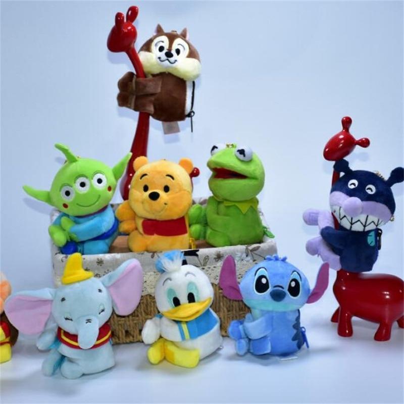 Cartoon Cute Stitch Winnie Bear Dumbo Plush Toys Small Pendant Zero Wallet Kids Toys Stuffed Animals Christmas Birthdays Gifts