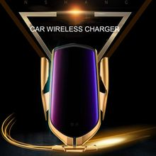 10W Wireless Car Charger Automatische Spannen Snelle Opladen Mount Smart Sensor