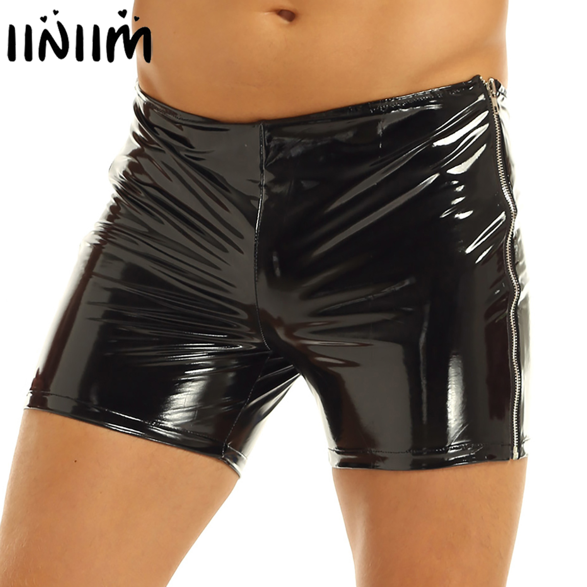 Black Men Shiny Glossy Patent Leather Boxer Short Pants Low Rise Elastic Slim Fit Side Zipper Hot Shorts Sexy Party Club Costume