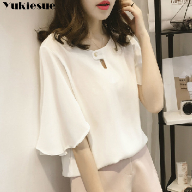 short sleeve 2020 summer women's shirt blouse for women blusas womens tops and blouses chiffon shirts ladie's top plus size 4