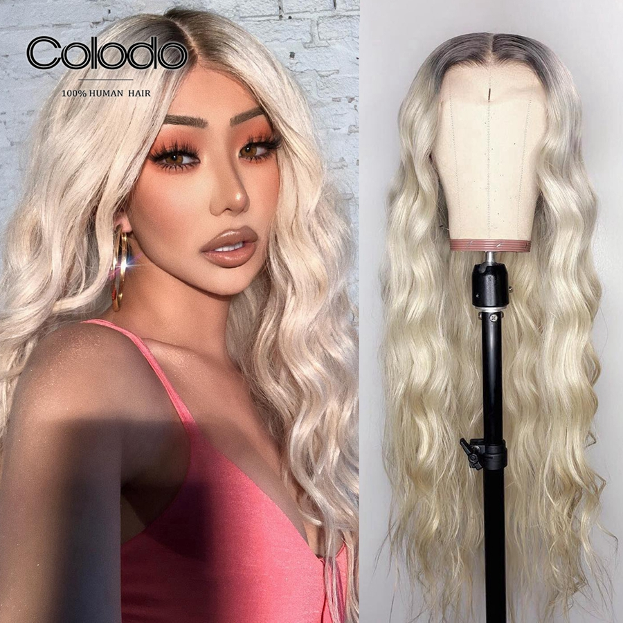 COLODO Remy Brazilian Ash Blonde Lace Front Wig Pink Transparent Lace Wigs Preplucked Ombre Full Lace Human Hair Wigs For Women