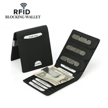 New Cowhide ID/Credit Card Holder Bifold Wallet Money Clip Coin Purse with RFID Blocking Business Genuine Leather Card Holder new mens genuine leather short vertical wallet cowhide compact bifold purse male coin pocket card holder zipper money case sale