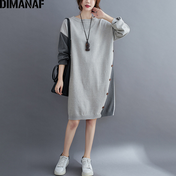 DIMANAF Plus Size Women Dress Sweater Pullover Knitting Thick Lady Vestidos Winter Autumn Female Casual Long Sleeve Clothing dimanaf plus size women dress vintgae long sleeve turtleneck winter flocking print floral female vestidos cotton thick loose