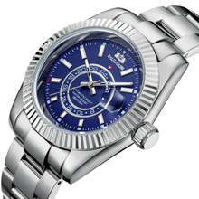 Men Automatic Self Wind Mechanical Stainless Steel Strap Rose Gold Silver Blue Date Luxury Sky 40mm
