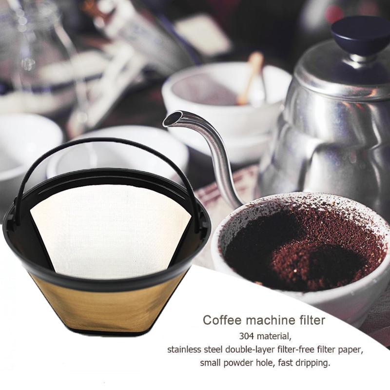 Filtro de café lavable estilo cono de acero inoxidable filtro de agua reutilizable de repuesto para accesorios de cafetera hogar