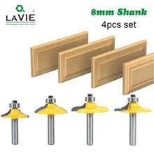 Lavie 4pcs 8mm 12mm 1/2 샹크 서랍 라우터 비트 세트 라운드 비딩 가장자리 밀 나무 밀링 커터 카바 이드 목공 mc02181