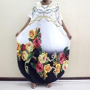 Image 4 - Новое модное Африканское платье Дашики с круглым вырезом и принтом из полиэстера с рукавом летучая мышь благородное длинное платье для женщин элегантное