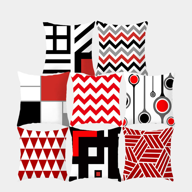 Black And Red Geometric Cushion Cover Polyester Decorative Throw Pillow Fashion Plaid Striped Sofa Pillow Home Decor 10069