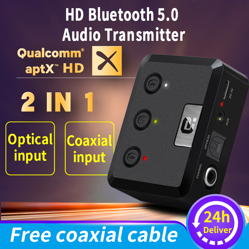 MR275 Wireless bluetooth 5.0 audio transmitter aptX HD ll Optical Coaxial 3.5mm Aux RCA  Audio receiver Adapter  Dual Link TV PC