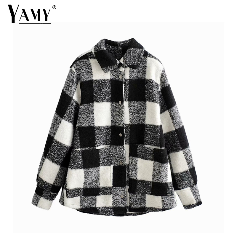 Plaid coats and jackets women winter vintage loose korean jacket women houndstooth jacket ladies tweed plaid jacket casual
