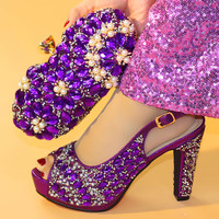 New Arrival African Rhinestone Hig Heels Shoes And Bags Set For Wedding New Italian Woman Pumps 11.3CM Shoes And Bags Set