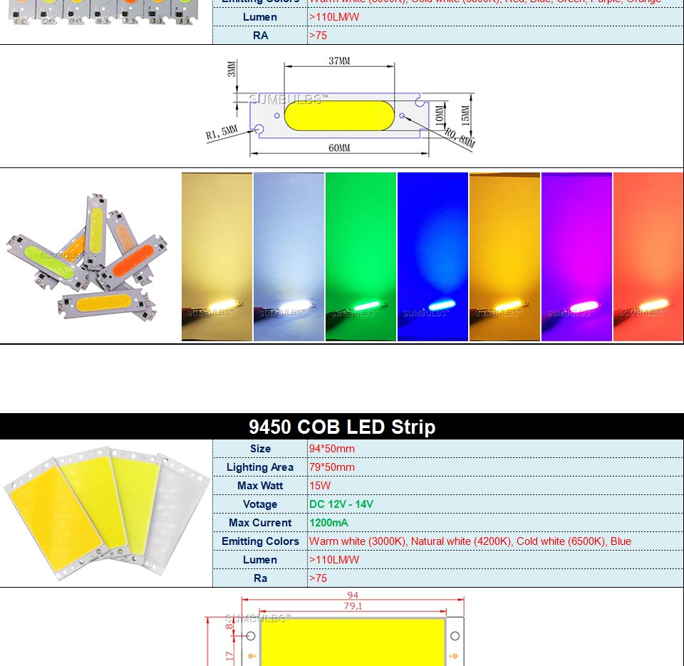 DC12V COB LED Strip Light Source 5W 10W 20W 50W 200W 300W LED Bulb White Blue Red Flip Chip COB Lamp DIY House Car Lighting 12V (2)