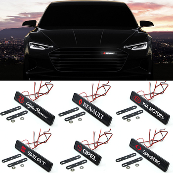 1pcs Car Front Grille Emblem LED Decorative Grill Lights For Mitsubishi ASX Lancer Pajero Outlander L200 EVO Lancer EX Pajero for mitsubishi outlander asx pajero pajero sport lancer car trunk mesh net cargo luggage trunk organizer car accessories