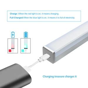 Светодиодный ночник, с датчиком движения, беспроводной Перезаряжаемый USB, 20, 30, 40, 50 см, настенный светильник для кухонного шкафа, шкафа, 2020