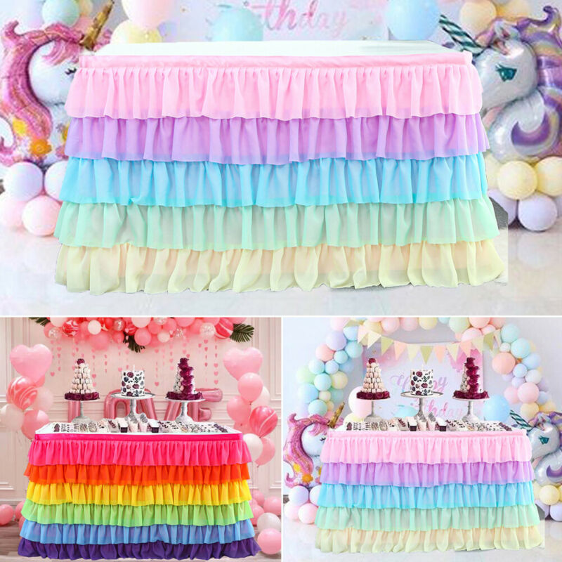 New Tulle Table Skirt Tableware Table Cloth Cover Birthday Wedding Party Decor