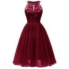 Womens Vintage Floral Lace Round Collar Dress