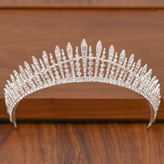 Diadem dla panny młodej korona do włosów ślubne akcesoria do włosów dla kobiet kolor srebrny korona do korony ślubne i akcesoria dla kobiet Tiara
