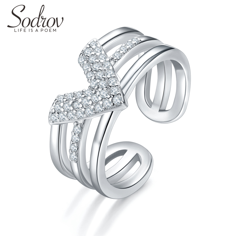 SODROV 925 Sterling Silver Ring Party Size Adjusted Ring For Women V Shape Modern Retro Silver 925 Jewelry Silver Rings