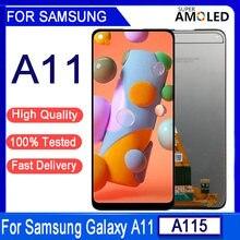 6.4 original original original a11 lcd para samsung galaxy a11 a115 a115f a115f/ds lcd screen display toque digitador assembléia com quadro