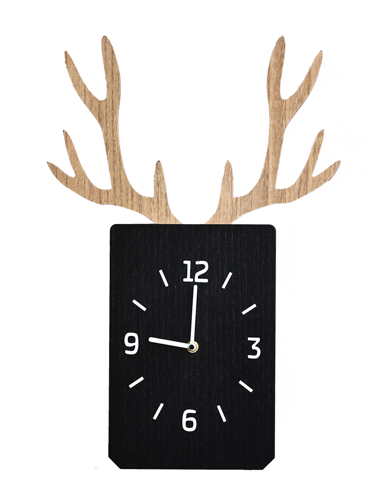 Nordic Deer Art Wall Clock Silent Living Room Personality Square Wall Clock Creative Wood Orologio Parete Decor Clocks MM60WC