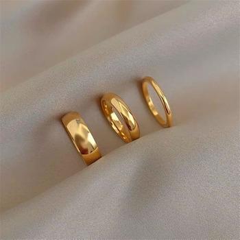 Minimalizm złoty kolor okrągły geometryczny zestaw pierścieni palców dla kobiet 2021 klasyczne koło otwarty pierścień uszczelniający pierścień damska biżuteria tanie i dobre opinie LAU CHIY CN (pochodzenie) Ze stopu cynku Kobiety Metal TRENDY Obrączki ślubne ROUND Zgodna ze wszystkimi jhh6 Brak moda