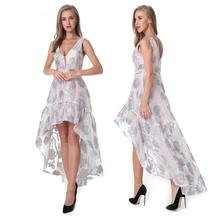 Women A-Line Long Party Dress Elegant Vestido Lady Organza V-Neck Wedding