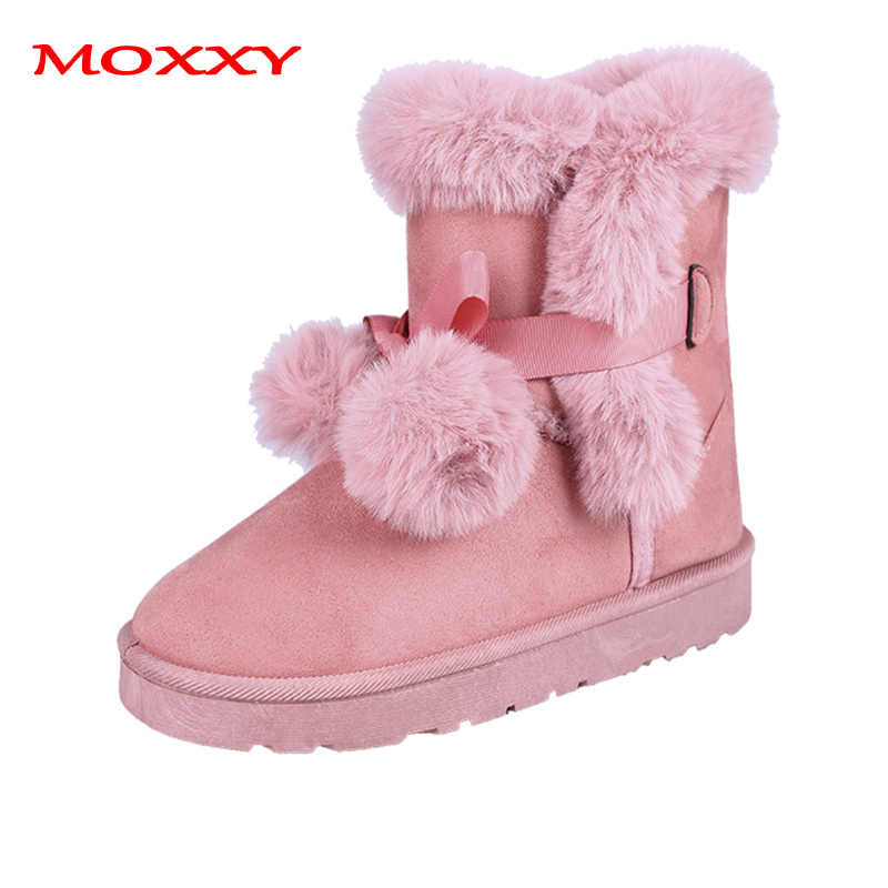 2019 New Russia Winter Boots Warm Plush Snow Boots Flat Heel Fur Ball Bow Soft Comfort Platform Pink Furry Boots Women Shoes