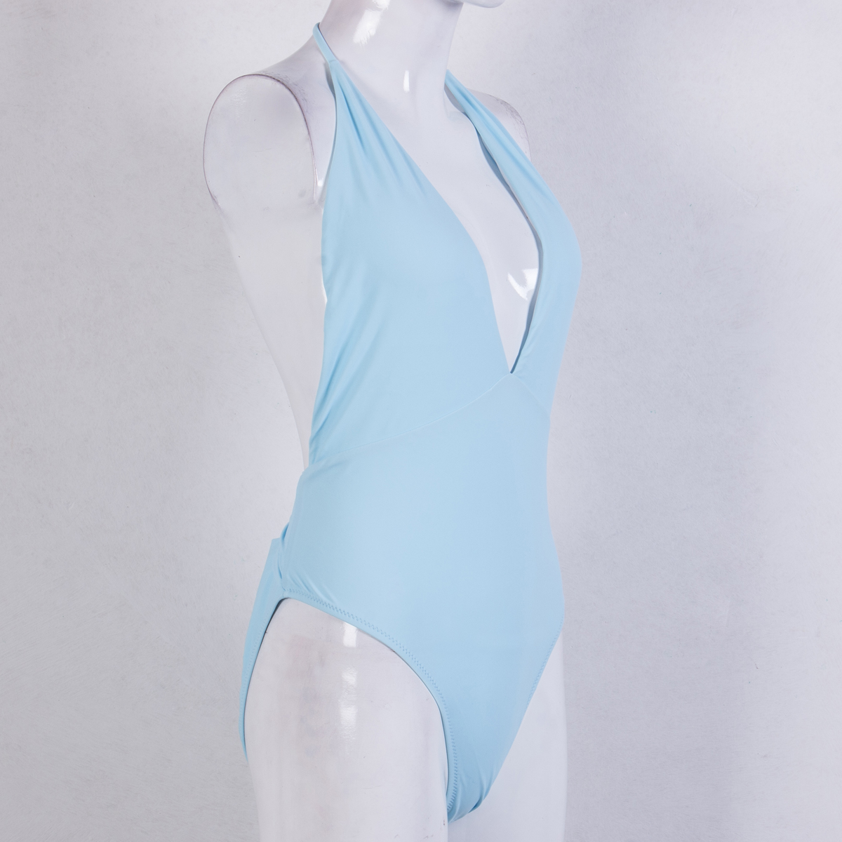 2019 Solid Women Swimwear Deep V neck Halter Sexy Women Swimsuit One piece female bandage beachwear bath suit white/blue-3