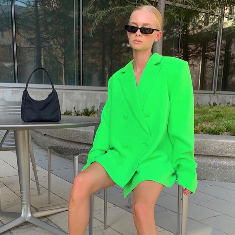 Cryptographic Fashion Women Oversized Blazers and Jackets Double Breasted Long Bleiser Female Vintage Blazed Fall 2019 Casual